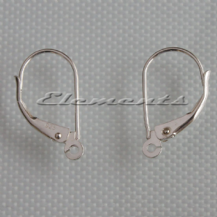 Sterling Silver Lever Back Clip Continental Ear Wires With Open Ring